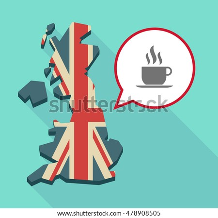Illustration of a long shadow United Kingdom map with a comic balloon and a cup of coffee