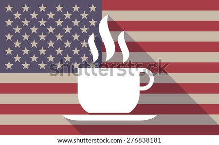 Illustration of a long shadow USA flag icon with a coffee cup - stock vector