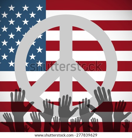 Illustration of a long shadow USA flag icon with a peace sign - stock vector