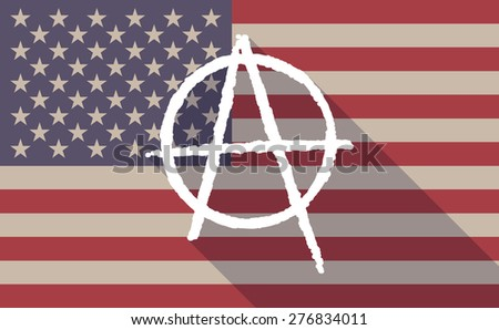 Illustration of a long shadow USA flag icon with an anarchy sign - stock vector