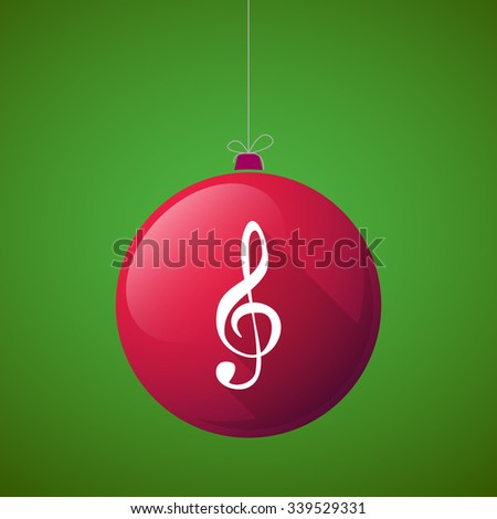 Illustration of a long shadow vector christmas ball icon with a g clef - stock vector