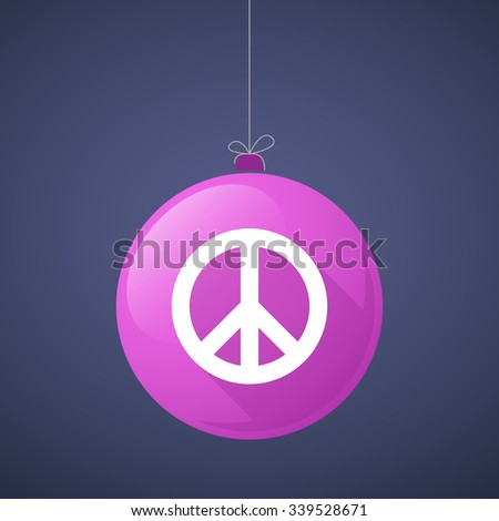 Illustration of a long shadow vector christmas ball icon with a peace sign - stock vector