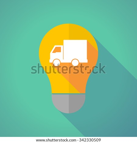 Illustration of a long shadow vector light bulb with a  delivery truck