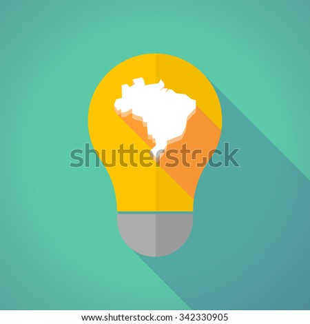 Illustration of a long shadow vector light bulb with  a map of Brazil - stock vector