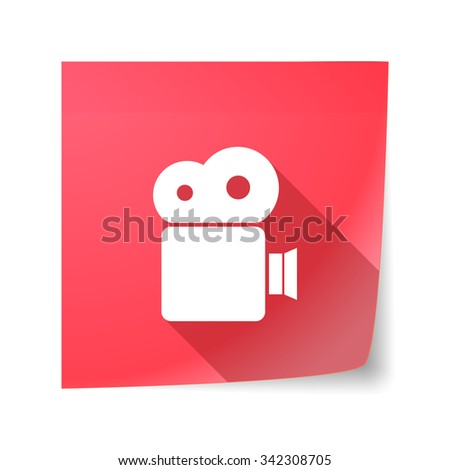Illustration of a long shadow vector sticky note icon with a film camera - stock vector