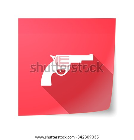 Illustration of a long shadow vector sticky note icon with a gun