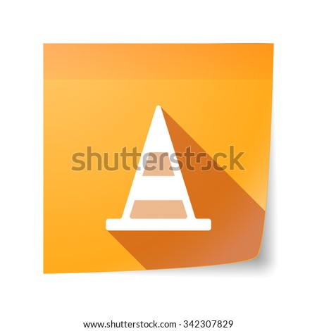 Illustration of a long shadow vector sticky note icon with a road cone