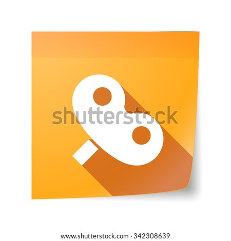 Illustration of a long shadow vector sticky note icon with a toy crank - stock vector
