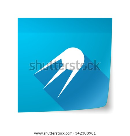 Illustration of a long shadow vector sticky note icon with a vintage satellite - stock vector