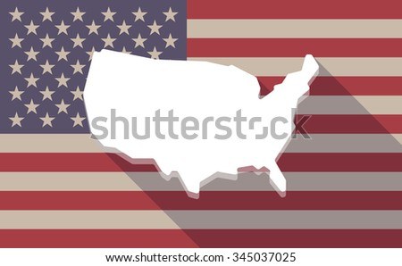 Illustration of a long shadow vector USA flag icon with  a map of the USA - stock vector