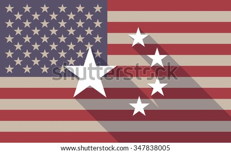 Illustration of a long shadow vector USA flag icon with  the five stars china flag symbol