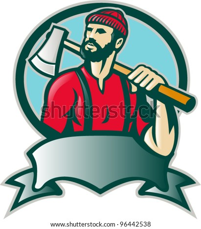 Illustration of a lumber jack forester logger carrying an ax looking up with scroll done in retro style.