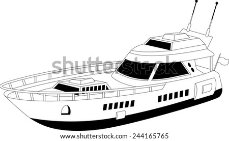 Illustration of a luxury yacht over white background - stock vector