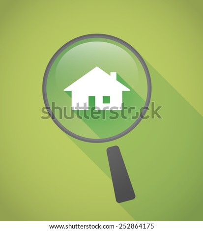 Illustration of a magnifier icon with a house - stock vector