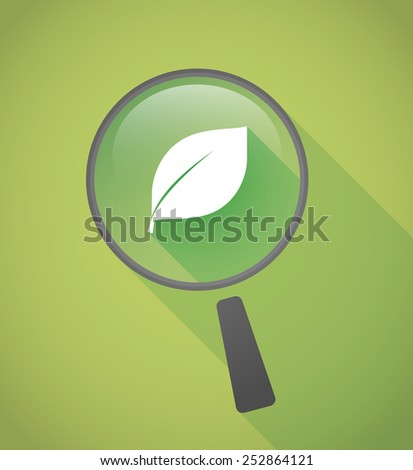 Illustration of a magnifier icon with a leaf - stock vector