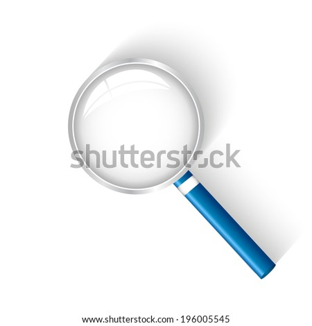 Illustration of a magnifying glass isolated on a white background.