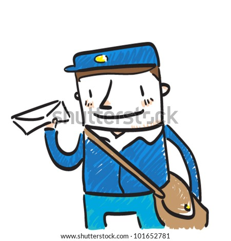 Illustration of a mailman. - stock vector