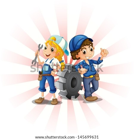 Illustration of a male and female mechanic on a white background  - stock vector
