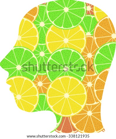 Illustration of a male head icon made from summer fruits vector illustration