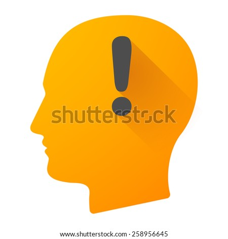 Illustration of a male head icon with a an atention sign - stock vector