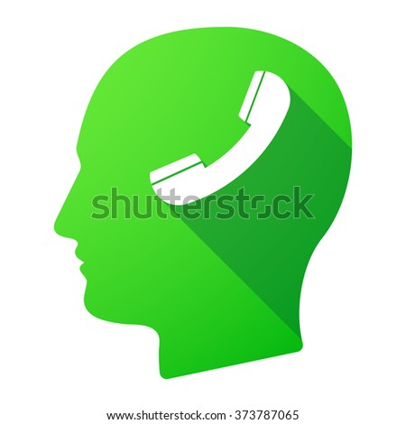 Illustration of a male head icon with a phone