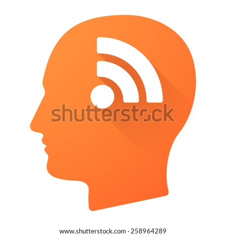 Illustration of a male head icon with a RSS sign