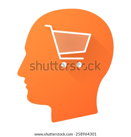 Illustration of a male head icon with a shopping cart - stock vector