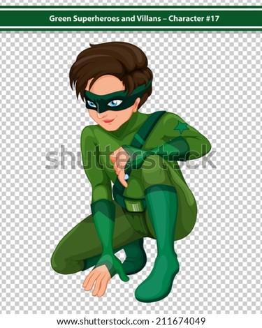 Illustration of a male superhero kneeling - stock vector