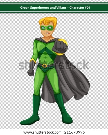 Illustration of a male superhero with cape - stock vector