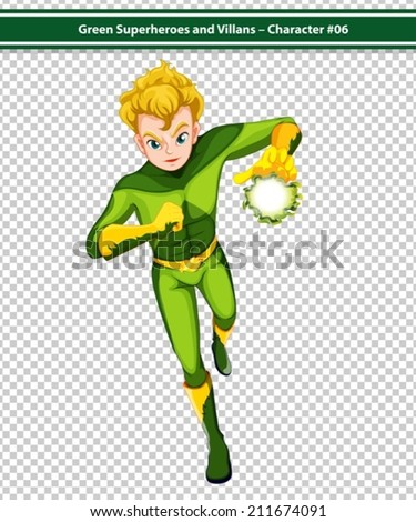 Illustration of a male superhero with fireball - stock vector