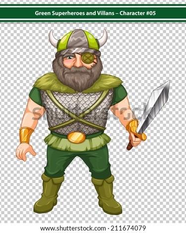 Illustration of a male viking warrior hero - stock vector