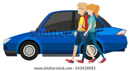 Illustration of a man and a woman next to the car