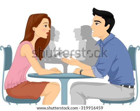 Illustration of a Man and Woman Asking Each Other Questions at a Speed Dating Event - stock vector