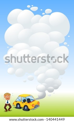 Illustration of a man beside a car with flat tires - stock vector