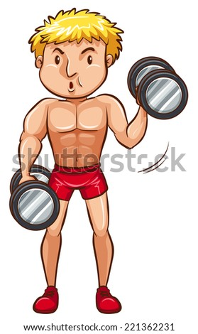 Illustration of a man doing weightlifting - stock vector