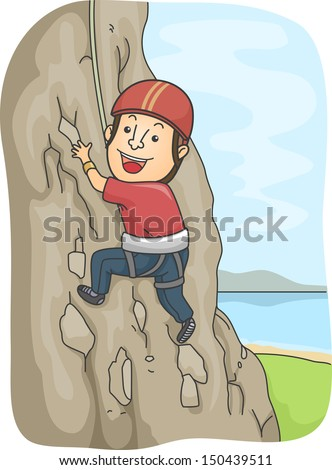 Illustration of a Man Dressed in Climbing Gear Scaling a Rocky Mountain - stock vector