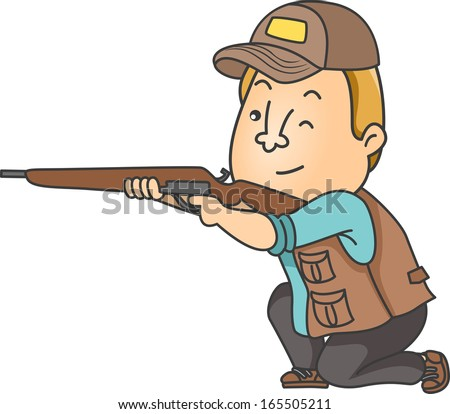 Illustration of a Man Dressed in Hunting Gear Taking Aim with His Rifle - stock vector