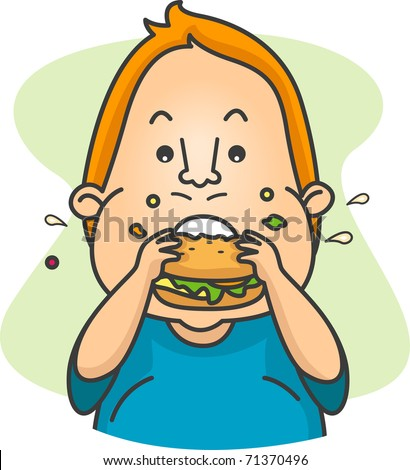 Illustration of a Man Eating a Burger - stock vector