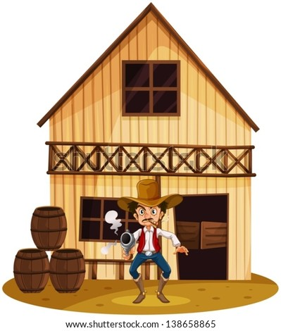 Illustration of a man holding a gun near the barrels on a white background - stock vector