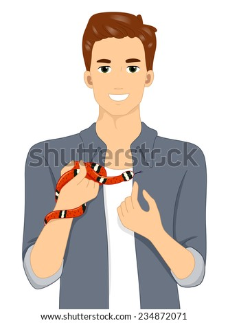 Illustration of a Man Holding His Exotic Pet Snake - stock vector