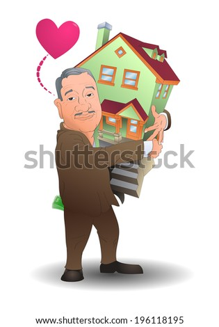 illustration of a man hug his home  over white background - stock vector