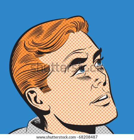 Illustration of a man in a pop art/comic style - stock vector