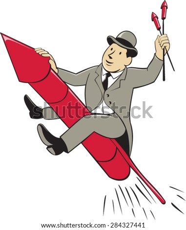 Illustration of a man in a suit wearing bowler hat holding fireworks riding fireworks rocket set on isolated white background done in cartoon style.  - stock vector