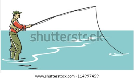 Illustration of a man in waders and vest fishing. The man can be separated from the background. EPS8-file, fully editable and all labeled in layers