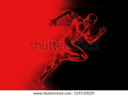 Illustration of a man off to a fast start in halftone effect - stock vector
