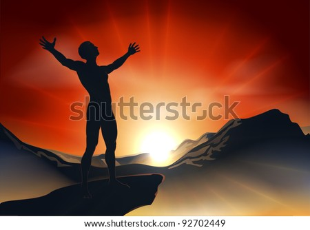 Illustration of a man on a mountain or cliff top with arms out at sunrise or sunset with light sunburst - stock vector