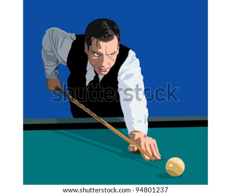 Illustration of a man playing billiards - stock vector