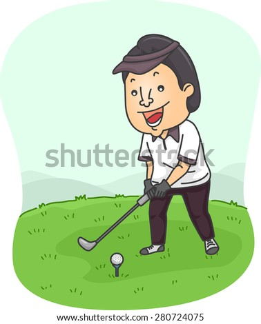 Illustration of a Man Preparing to Hit a Golf Ball - stock vector