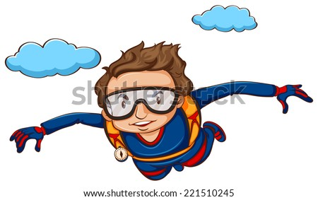 Illustration of a man sky diving - stock vector