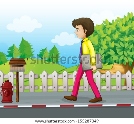 Illustration of a man walking near the mailbox with a binder in his hand - stock vector